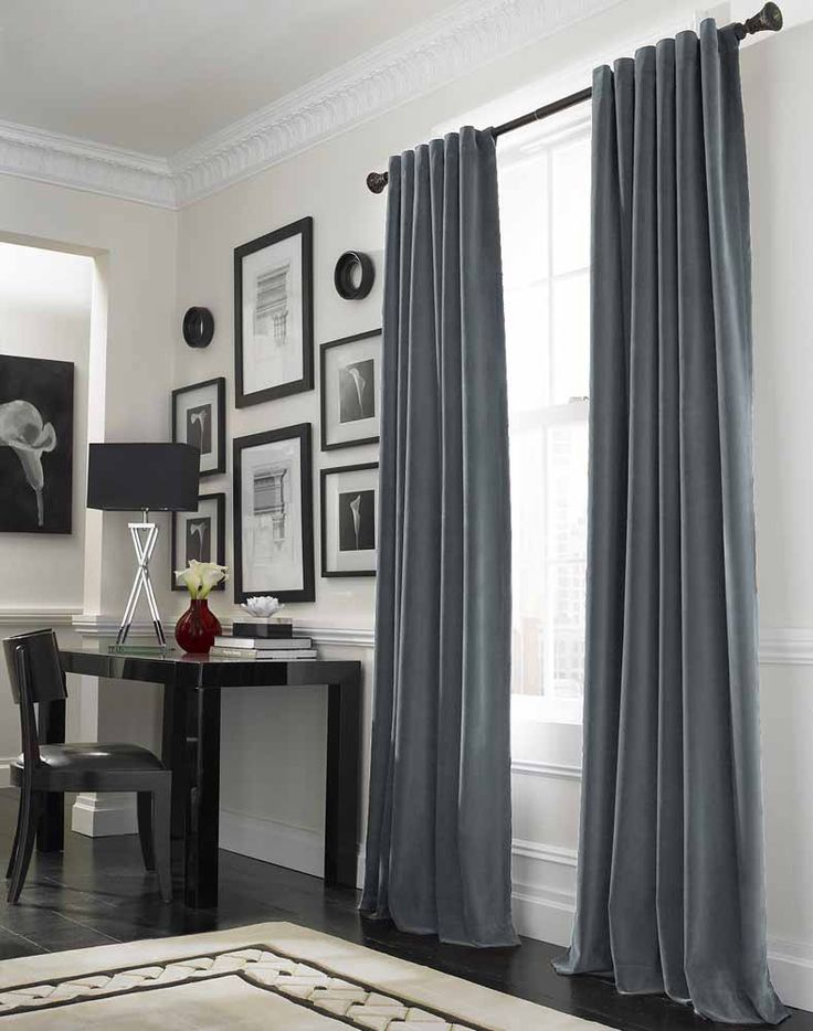 Stunning Design Of Curtain Ideas For Large Windows : Cool Grey Curtain Ideas For Large Windows Modern Home Office Table