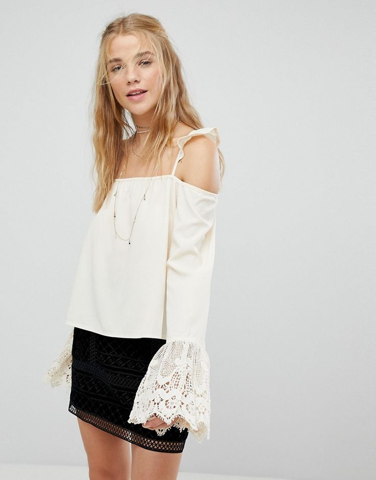 Kiss The Sky Cold Shoulder Strappy Top With Lace Fluted Sleeves - Crea