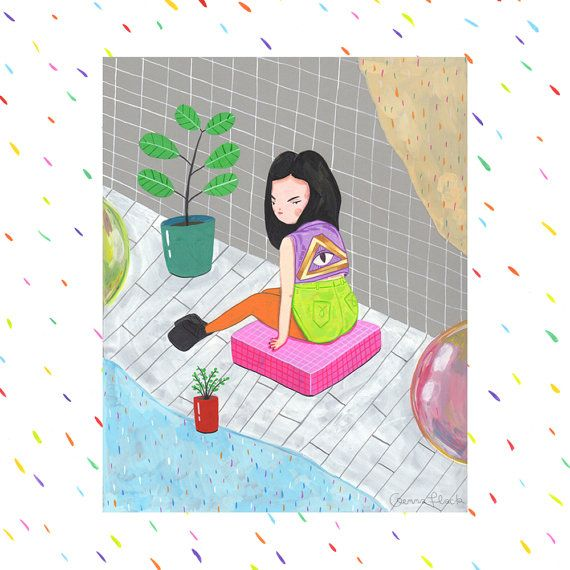 grid girl chillin with plants and giant bubbles ive been playing with grids and gouache and Ive rediscovered such a love of painting! A5 (10 x 15cm) or A4 (21 x 30cm) digital colour print on acid-free premium matte paper signed & packaged in an acid-free sleeve, and shipped carefully in a