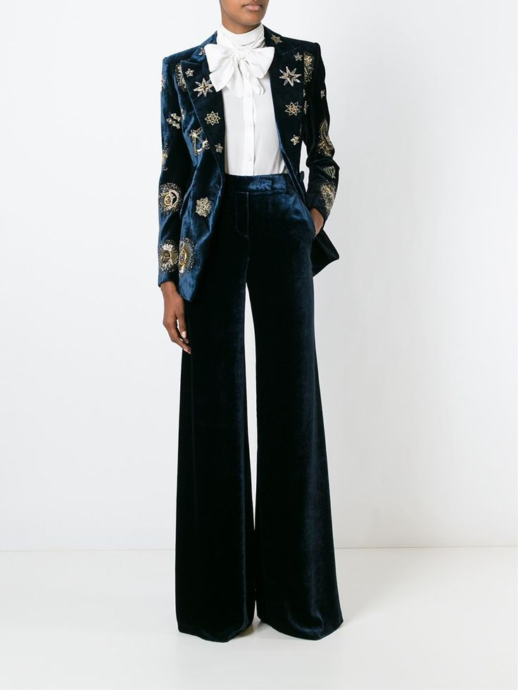 Emilio Pucci Zodiac Embellished Velvet Blazer - Tiziana Fausti - Farfetch.com Never mind the jacket, how about those pants?