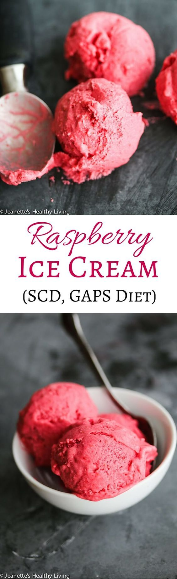 Raspberry Ice Cream - this 3 ingredient ice cream is SCD and GAPS Diet friendly ~ http://jeanetteshealthyliving.com