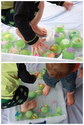 Frozen Lily Pad sensory play to beat the heat