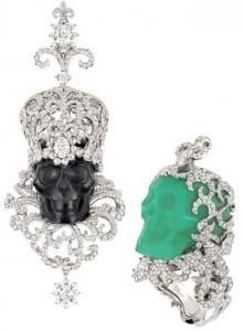 Diamond skull rings by Victoire de Castellane for Dior Fine Jewelry