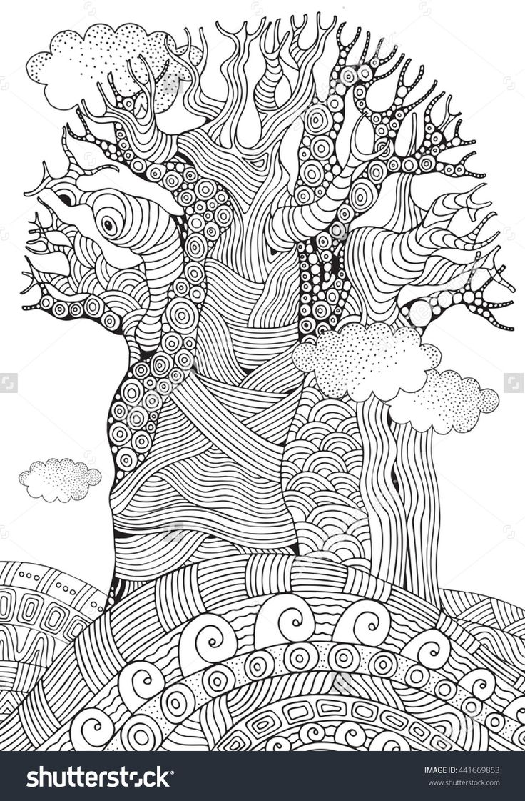 Coloring pages for adults zentangle - Baobab Tree Coloring Page For Adults Zentangle 441669853 Shutterstock