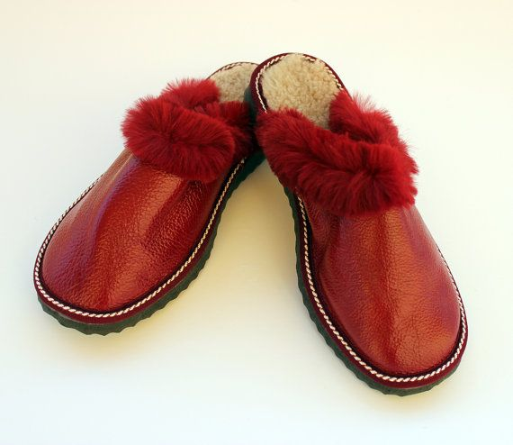 Handmade Red leather slippers made with napaleather and really soft fur. The Cozy Walking for Women