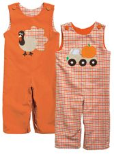 Kelly's Kids Boy Reversible Long-All Boy Turkey and Thanksgiving outfit and Boy Pumpkin and Halloween Outfit Super cute boy clothes