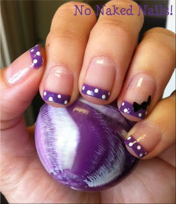 Polka Dot French Tip Nails, with cute bow! Nail Art Designs nail