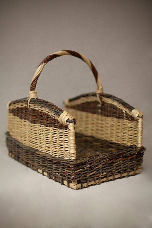 Log basket wicker rectangular cottage style.