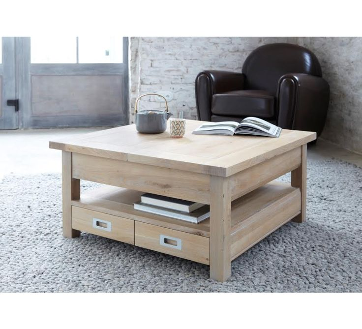 Table Basse Carr E Ch Ne Massif Grise Bella Deco