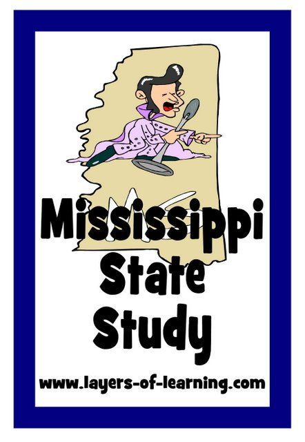 Mississippi state study including a Mississippi map to print and color