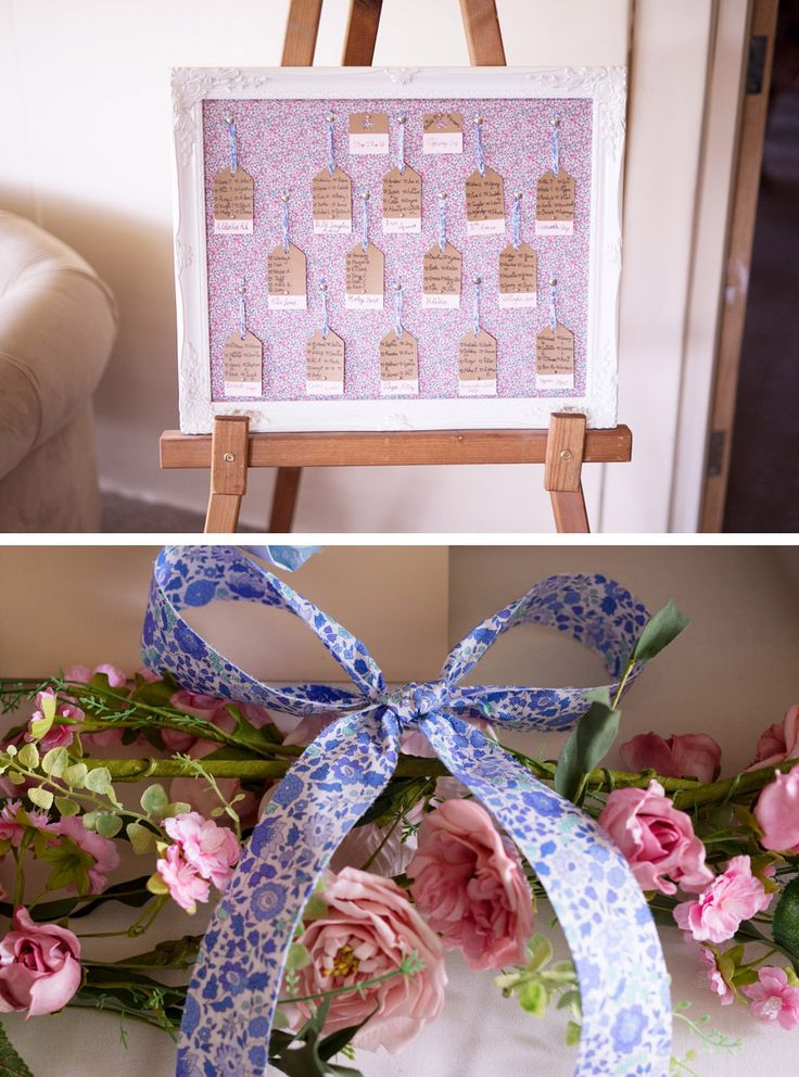 Liberty print in a frame for the table plan  -  Yorkshire weddings. Bride wore an Essence of Australia gown. Liberty prints and pastels. Reception venue, The Moorlands Inn, Halifax, west yorkshire wedding