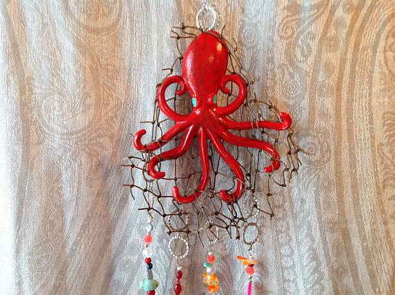 Red Octopus Mobile/Cast Iron Mobile/Fisherman's Net