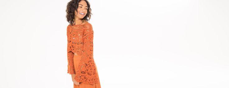 blusa crochet manga sino | FARM