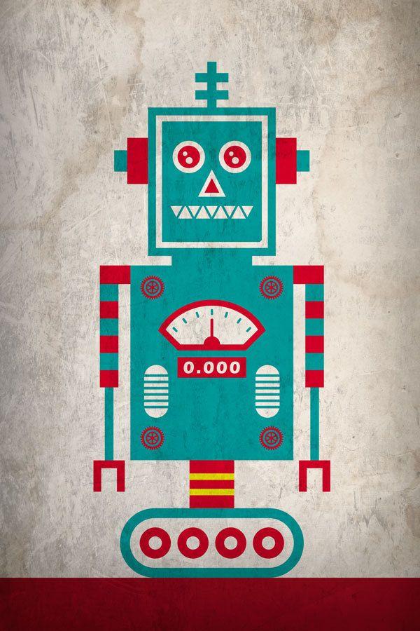 Minimal Robot Poster by JWC Designs