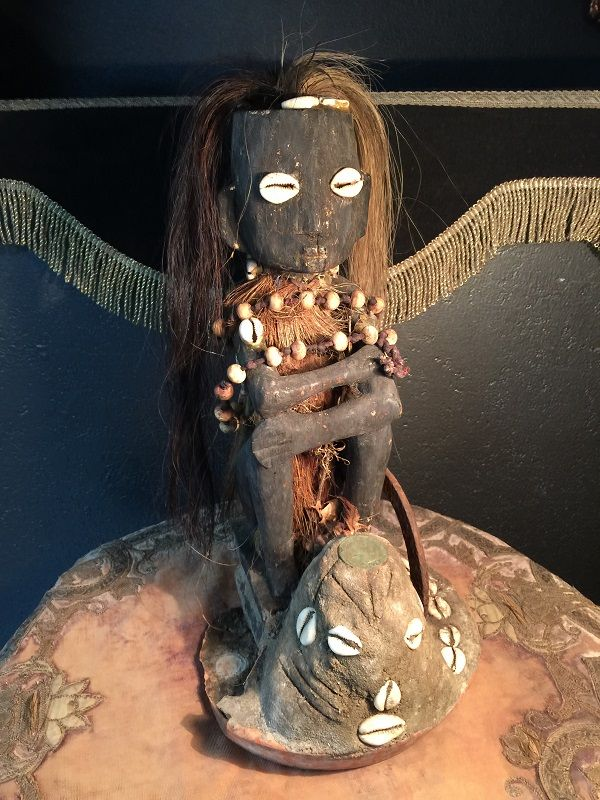 """Antique Elegua Santeria Voodoo Statue Vintage Occult Witchcraft Hoodoo Idol 15"""" Real Hair $395 http://www.gothicroseantiques.com/AntiqueEleguaSanteriaVoodooDollStatueVintageOccultWitchcraftHoodooIdol15RealHairCowrieShellsLotsofJuJu.html"""