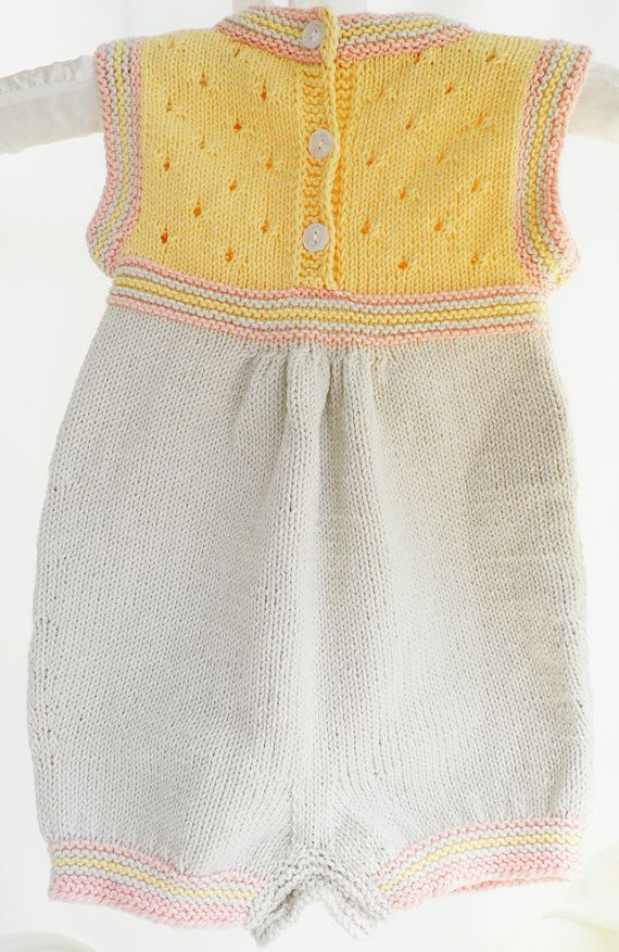 Sale Knitted cotton baby romper beige and by Svetlanababyknitting