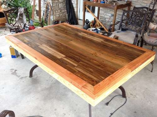 Awesome Reclaimed Deck Board Table: Crafts Ideas, Awesome Reclaimed, Decks Woods, Reclaimed Decks, Wood Crafts, Woods Crafts, Decks Boards