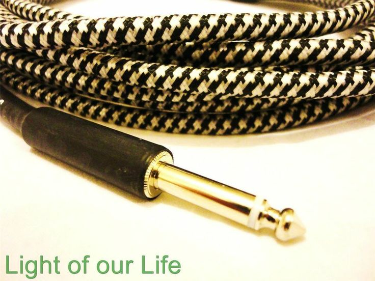 Guitar Cord Cable Lead 6Mtr Woven Braided Black New For Acoustic, Electric, Bass