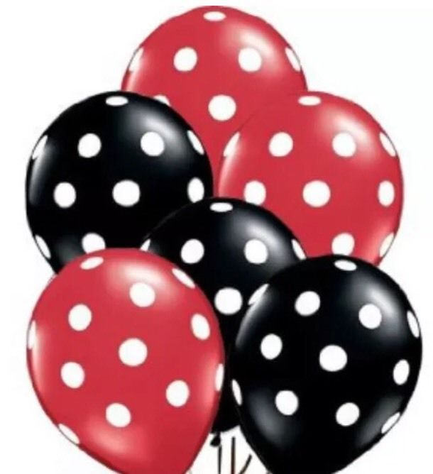 """24 Red & Black polka dot balloons 12"""" Latex Minnie/Mickey Mouse/Lady Bug Colors"""