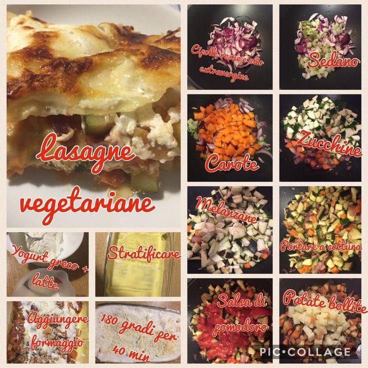 Lasagne vegetali - veggie lasagna recipe:   Cipolle, sedano, carote, zucchine , melanzane, patate bollite, passata di pomodoro  Yogurt greco e latte per la crema  Parmigiano e altri formaggi grattuggiati  In forno a 180 gradi per 35/40 minuti