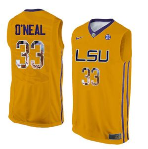 LSU Tigers 33 Shaquille O'Neal Gold With Portrait Print College Basketball Jersey2