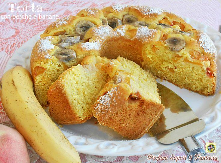 Torta+con+pesche+e+banane+ricetta+golosa