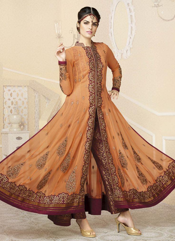 Orange Georgette Embroidered Work Designer Classic Anarkali Suit