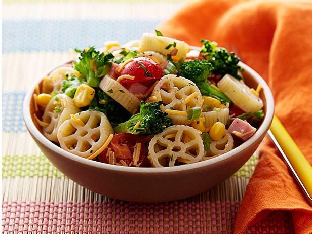 Wagon Wheel Pasta: Healthy Lunches For Kids, Food Network, Wagon Wheels, Pasta Salad Recipes, Pastasalad, Lunch Ideas, Healthy Kids, Kid Approved, Wheel Pasta