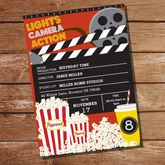 Movie Party Invitation  Movie Ticket Invitation  Instant