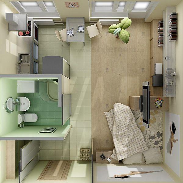 Diseño de plano de apartamento muy pequeño