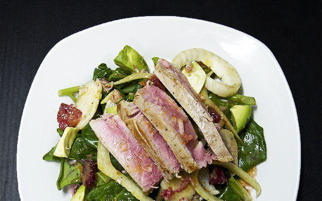 Grilled Rare Tuna Salad With Basil-Tapenade Vinaigrette Recipes ...