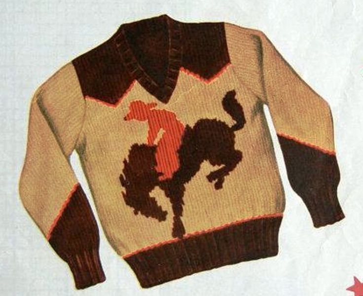 1950S Knitting Pattern Cowboy Bronc Rider Bucking Horse Pullover Sweater V Neck