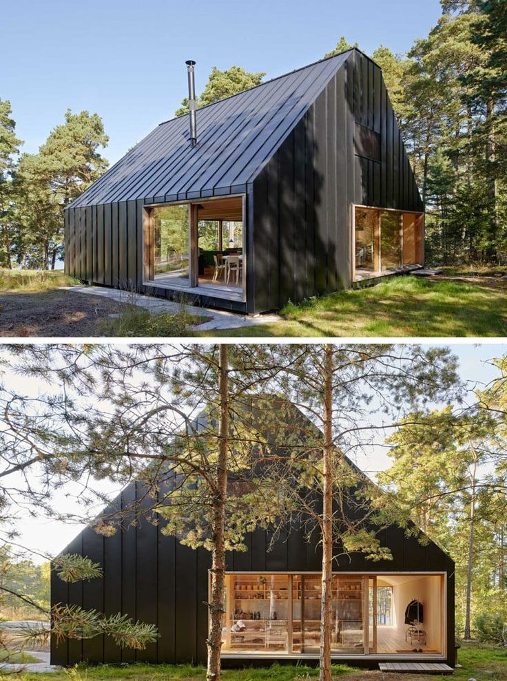 19 Examples Of Modern Scandinavian House Designs   The black siding seamlessly connects with the black roof to create a striking look against the green forest surrounding it.