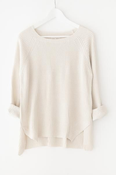 Classic chunky knit sweater Round neckline Long sleeves Side slits Loose fitting…