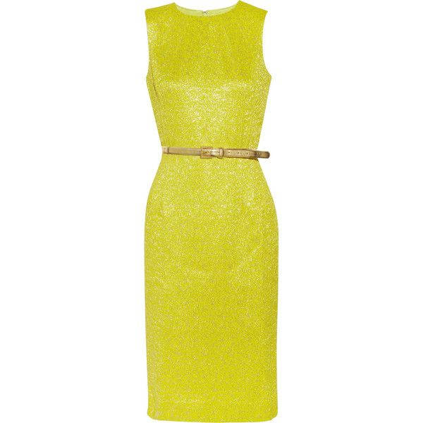 Michael Kors Belted brocade dress ($535) ❤ liked on Polyvore featuring dresses, vestidos, bright yellow, loose dress, michael kors cocktail dresses, bright colored dresses, chartreuse dress and loose fitting dresses