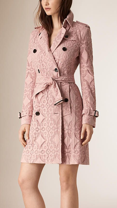 Thistle pink Gabardine Lace Trench Coat - Burberry This coat is what dreams are made of