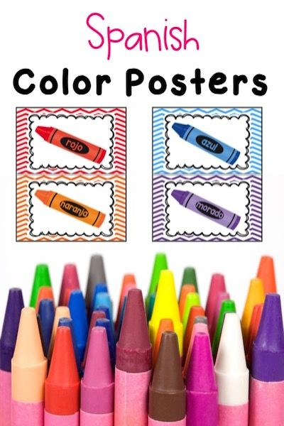 SPANISH COLOR POSTERS. Brighten up you classroom with these cute chevron color posters. These posters come in two different sizes to fit your classroom needed. Included are the following colors: Amarillo Azul Blanco Gris Marron Morado Naranja Negro Rojo Rosa Verde