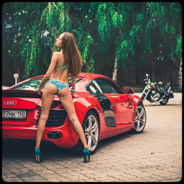 Sport Bike Girl Wallpapers Hot Girl And Red Audi R8 Girls And Cars Audi Cars