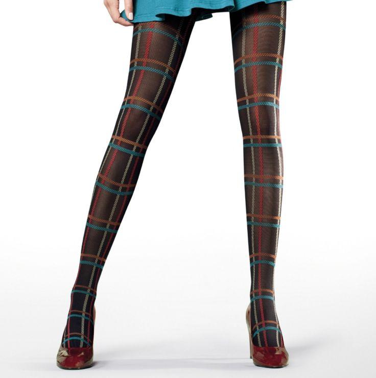 Dikke zwarte panty met gekleurde tartan print