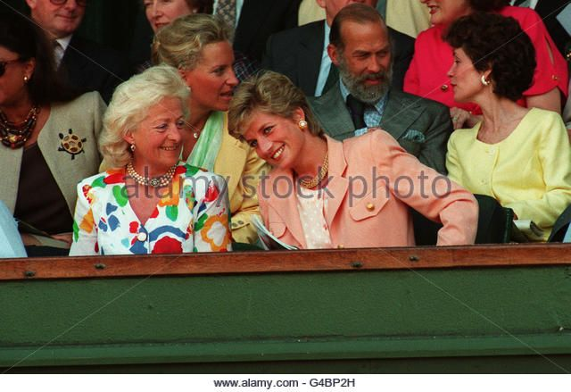The Princess Of Wales With Her Mother Frances at the Men's Singles Final Wimbledon Match - Stock Image