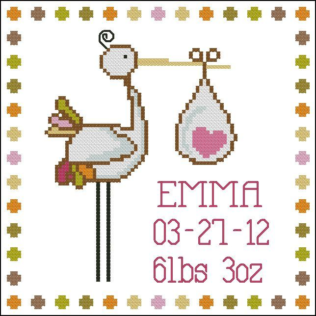 Easy cross stitch project for baby record and announcement comes with												  a separate alphabet set to customize your baby's name.												  												  Mini Cross Stitch Pattern:				Stork Baby Announcement Girl								  Design Source:		Collective Creation Adaptation										  DMC Floss Colors:		12										  Stitch Count:	88	x	88