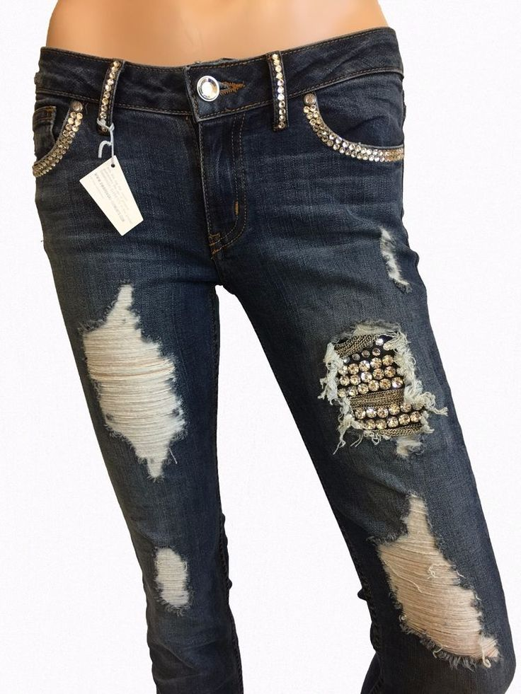 Womens Slim Jeans A7 Distressed Bling Embellished Skinny Stretched Lo Rise Denim #A7 #SlimSkinny
