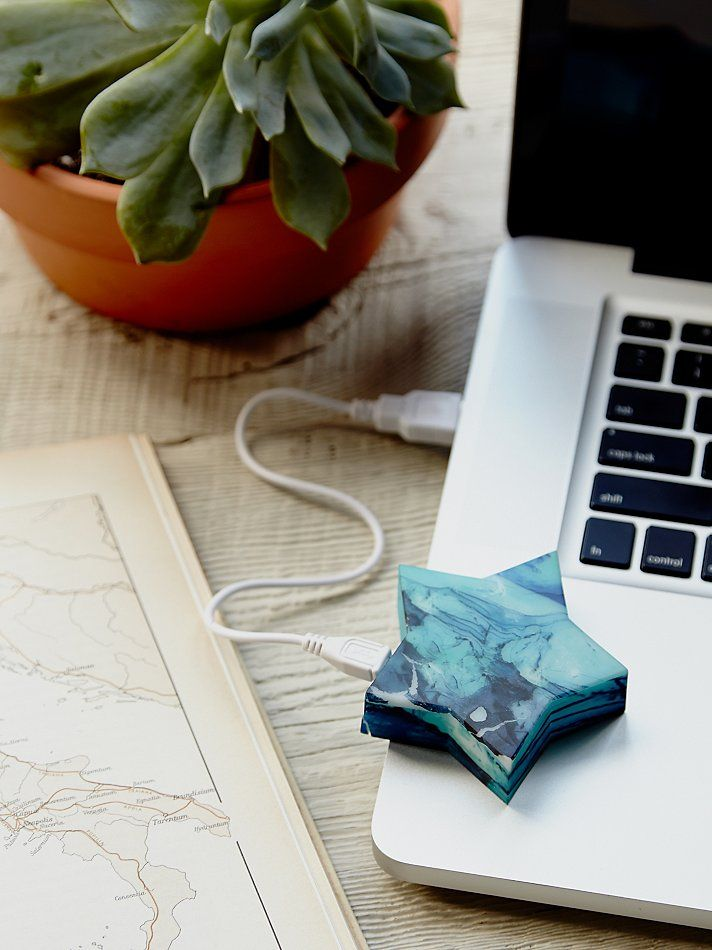 Star Powerbank Charger | Charging on the go just got a lot easier and a whole lot cuter!  This celestial inspired portable charger is compatible with most smartphones, mp3 players and other USB powered devices.  USB cable provided.  Charging time is approx. 1 – 3 hours. #mosltylisaholiday #mostlylisagiftguide