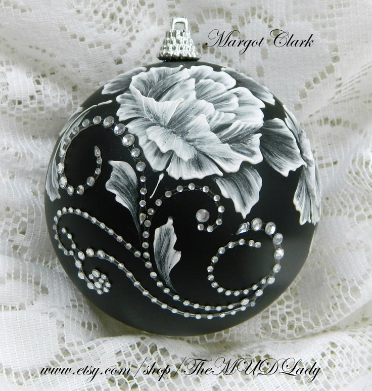 White MUD Roses, rhinestone bling #35 SOLD!