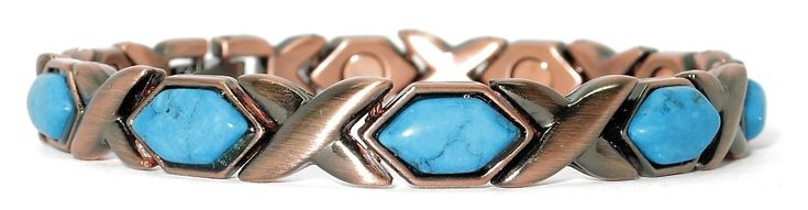 Copper Simulated Turquoise XOXO Magnetic Therapy Bracelet - WellnessMarketer