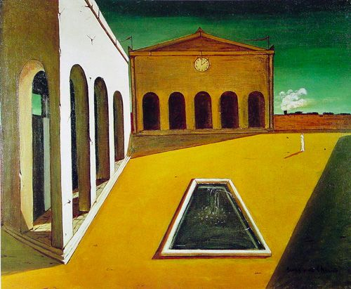 Painting by Giorgio de Chirico... source of inspiration for Aldo Rossi evidenced in his cemetery, San Cataldo, in Modena, Italy.