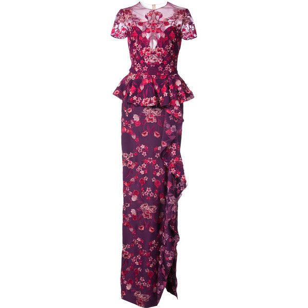 Marchesa Notte peplum floral gown ($1,195) ❤ liked on Polyvore featuring dresses, gowns, floral gown, purple floral dress, purple evening dress, floral print dress and purple ball gowns