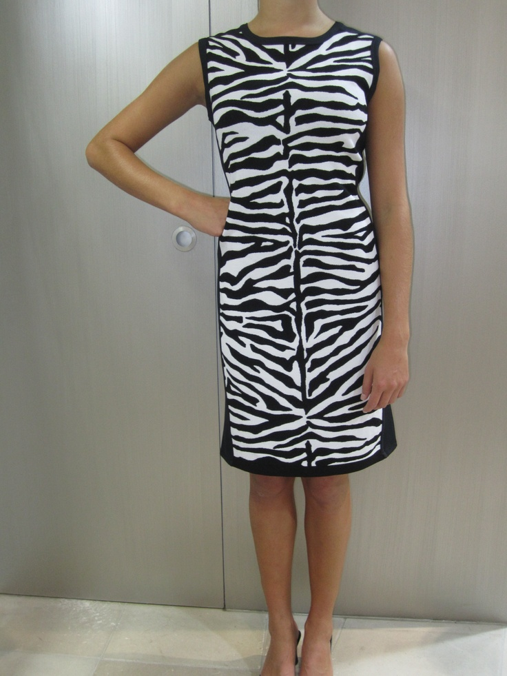 Black and white zebra pattern knit dress