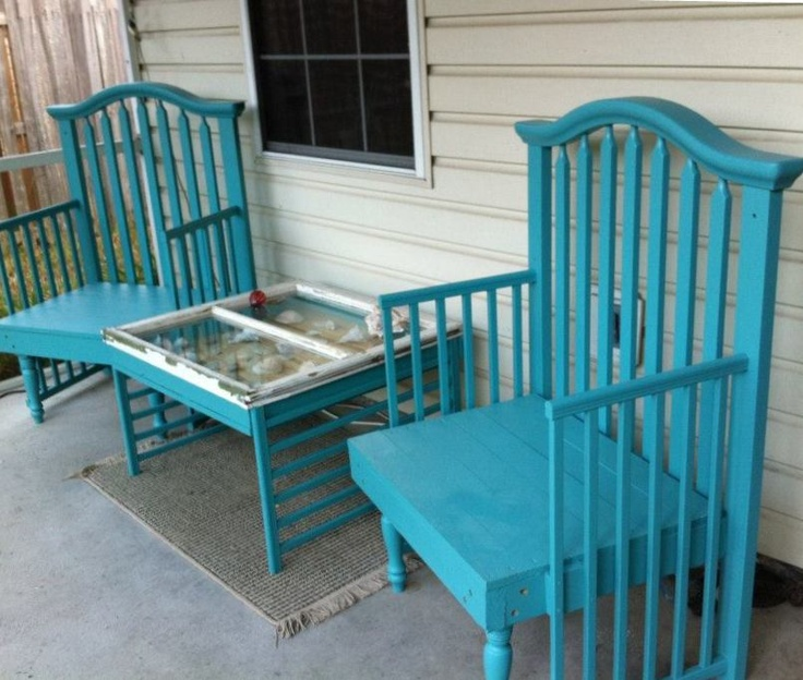 I made heavy wood patio chairs using an old crib