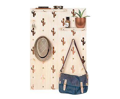 Pannello forato da parete con 14 ganci e 3 mensole Cactus rame, 50x70 cm